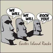 Easter Island Rocks - We Will Rock You - Funny Easter Island rock and roll queen T-shirt
