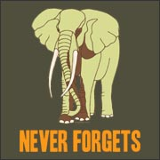 Never Forgets - funny elephant dinosaur t-shirt